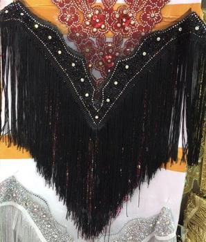 hot sale embroidered crystal rhinestone collar with tassels Deep-V neckline SYJ-9424 with more fringe