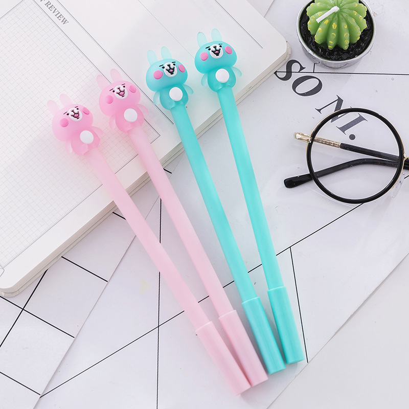 Korean Stationery Creative Cute Cartoon Rabbit Neutral Pen Student Examination Writing Signature Pen Office Black Pen