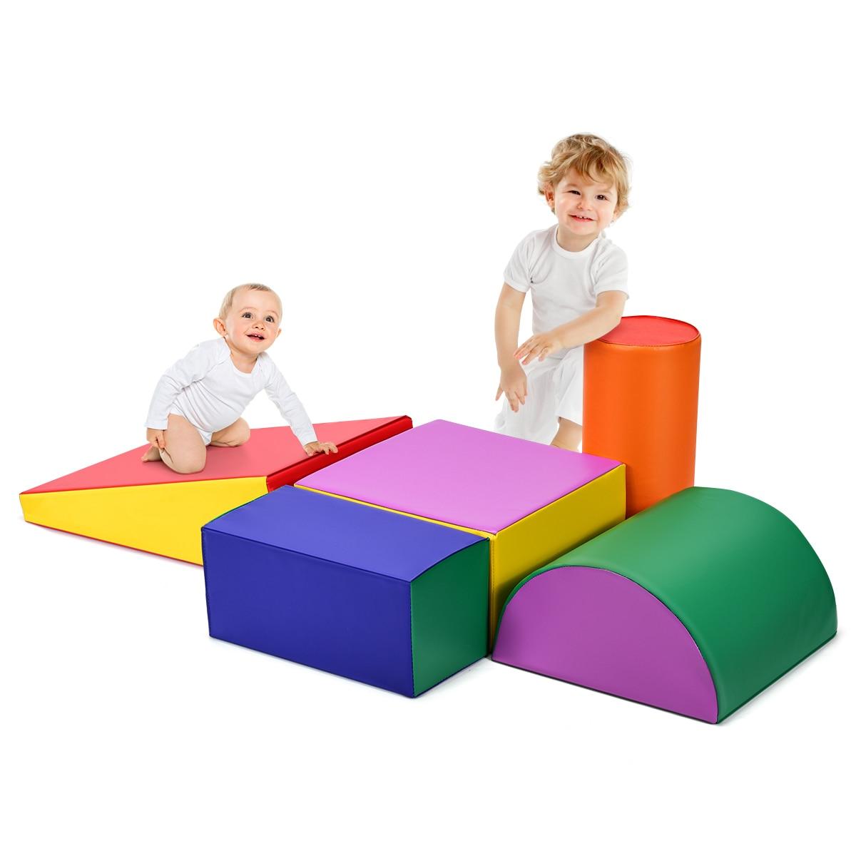 Kids Play Foam Set Toddlers Crawl Foam Shapes Set Climb Slide Safe Active Play