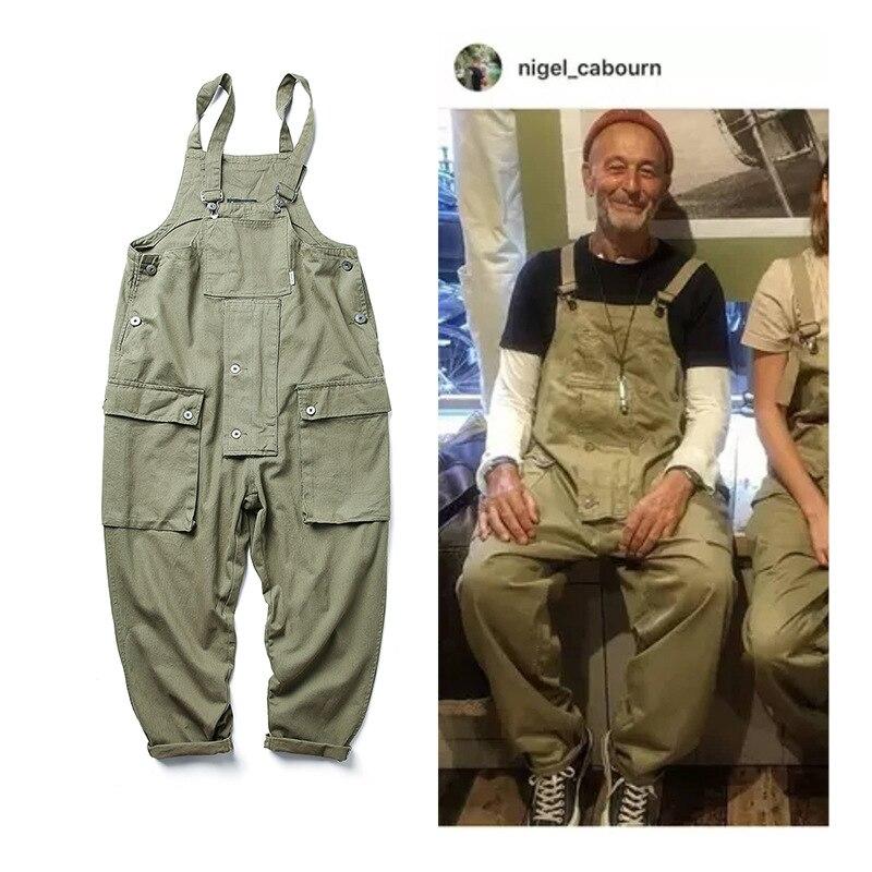 Safari Style! Multi-Pocket Bib Overalls Men Hip Hop Streetwear Cargo Work Pants Coveralls Men's Casual Loose Pant Bib Trousers