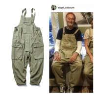Style Safari! Salopette à bretelles multi-poches hommes Hip Hop Streetwear Cargo pantalon de travail combinaisons pantalon ample décontracté pour hommes