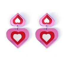 Moda adorável superposed rosa vermelho pêssego coração brincos de acrílico para as meninas feminino bonito brilhante borla balançar brincos brincos mujer