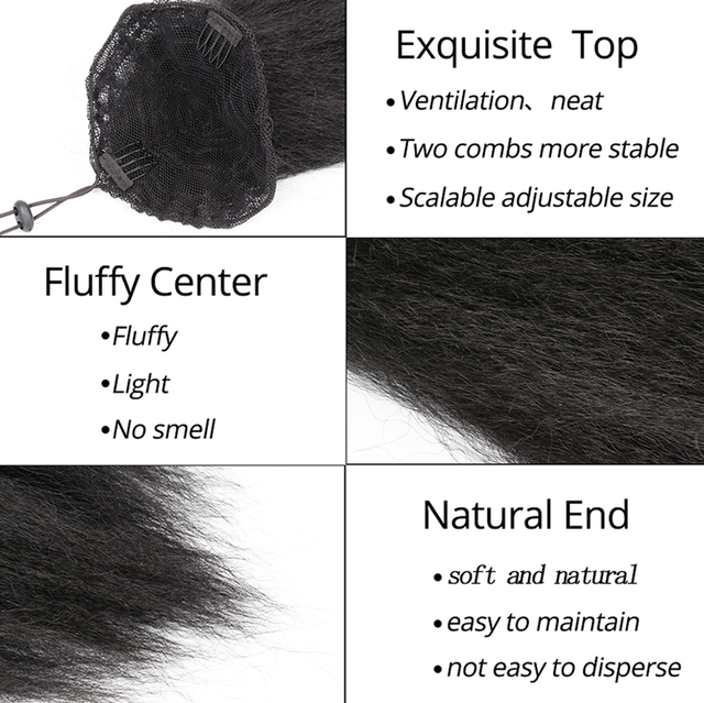 """AliLeader 22"""" Adjustable Strap Kinky Curly Yaki Ponytail Hairpiece For Women With Comb Synthetic Pony Tail False Hair Extension"""