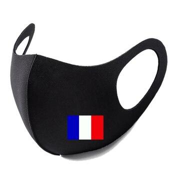 France Flag Print Washable Earloop Face Breathing Mask Cycling Anti Dust Environmental Mouth Mask Respirator Fashion Black Mask 1