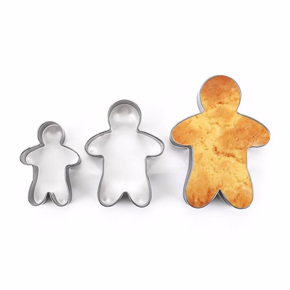 3PCS Stainless Steel Gingerbread Man Cookie Moulds Durable Fondant Cutters Kitchen Baking Tool For  Year Christmas