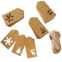 купить metable 150 Pieces Paper Tags Kraft Christmas Tags Hang Labels Christmas Tree Snowflake Reindeer Design for Christmas Gift Favor по цене 760.08 рублей