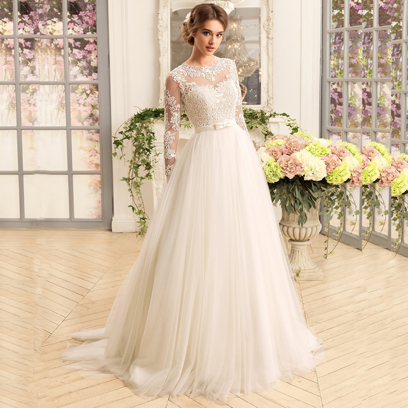 Gorgeous Long Sleeve Wedding Dresses O-Neck Lace A-line Tulle Bridal Gown Applique Wedding Dress Robe Mariee