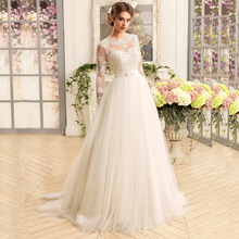 Wedding-Dresses Bridal-Gown Tulle Long-Sleeve Applique Lace Robe Gorgeous O-Neck A-Line