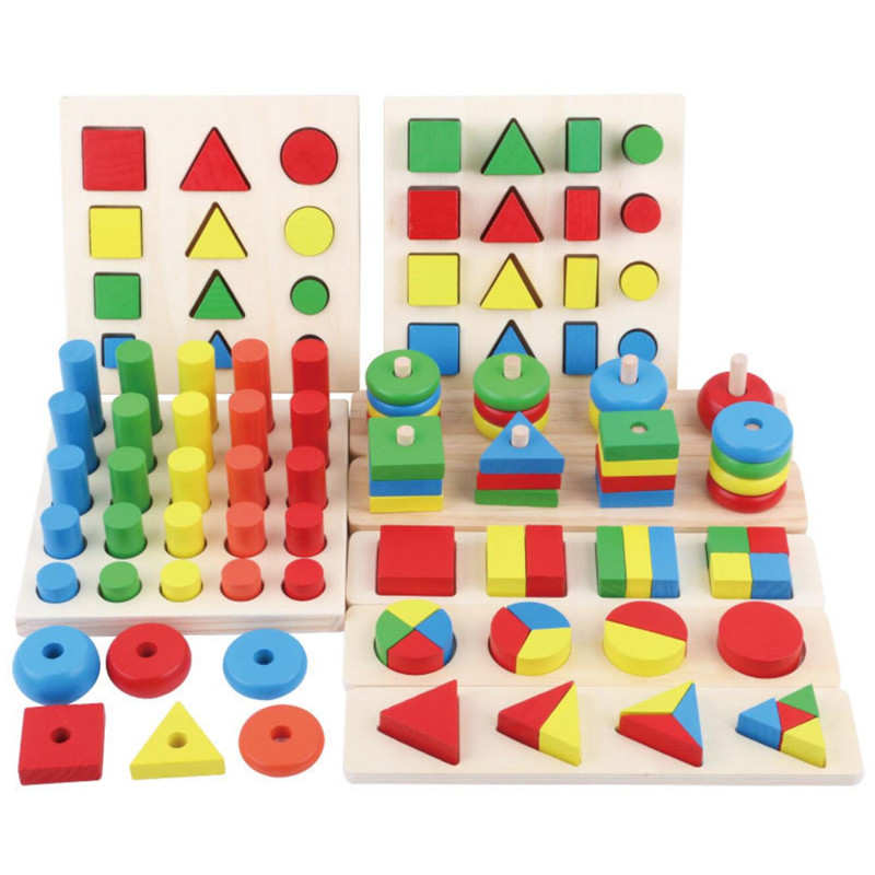 Montessori Wooden Oyuncak Shape Matching 8 In 1 Set Cylinder Educational Blocks Toys For Children Brinquedos Juguetes