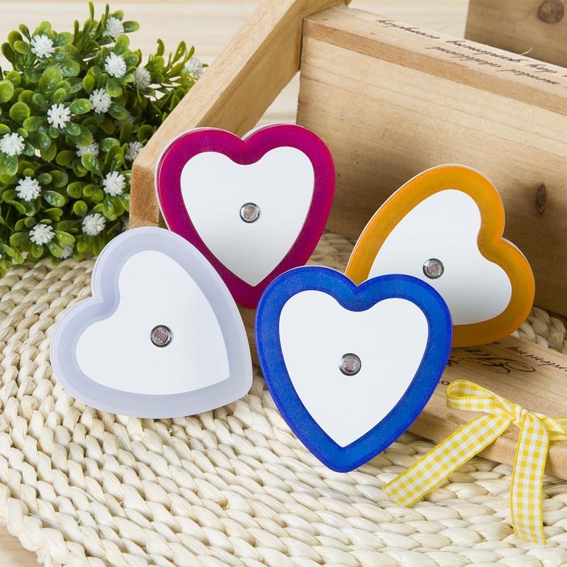 LED Night Lights Wireless Light Control Sensor Mini Heart-shaped EU US Plug Night Light Living Room Bedroom Bedside Lamp