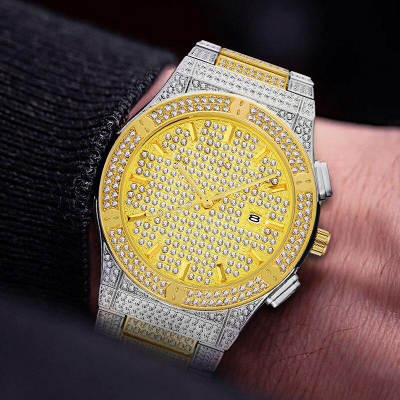 MISSFOX Mens Watches 18K Gold Rolexable Men's Luxury Watch Men Full Diamond Waterproof Steel Xfcs Quartz Clock Relogio Masculino
