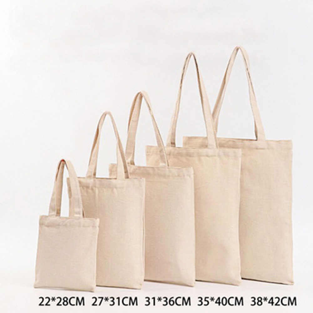6 Sizes Linen Grocery Foldable Bag Shopping Bag  Pure Color Shopping Storage Reusable Eco Tote Bag Handbag Casual