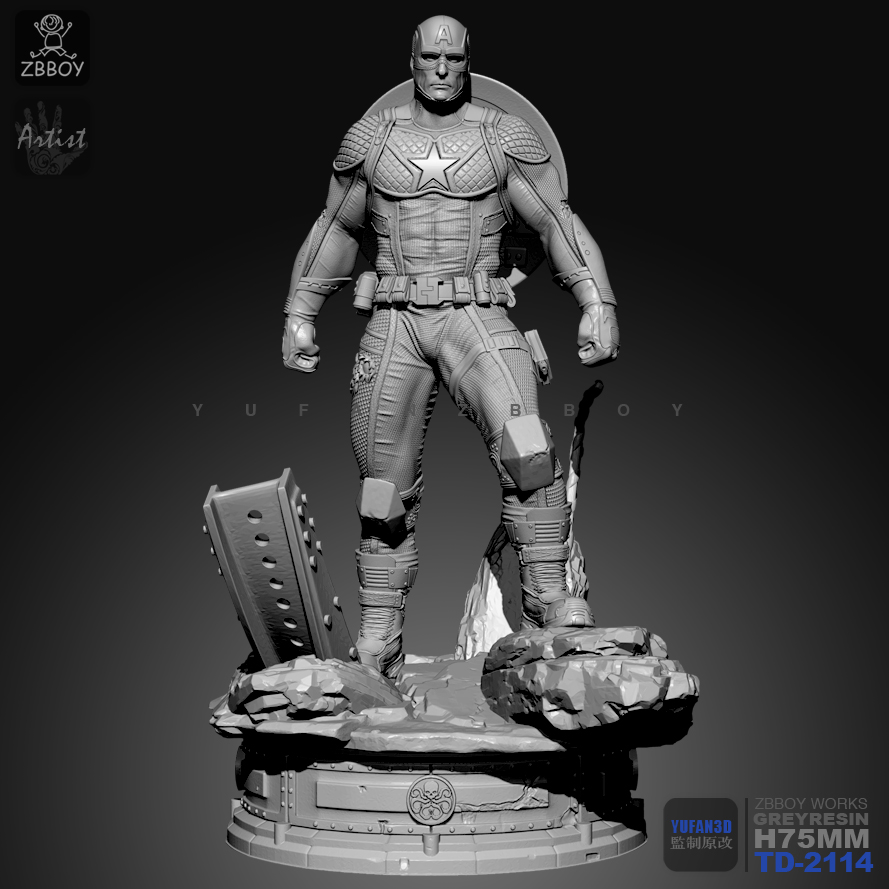 75MM 1/24 Resin Kits Captain America Model Self-assembled TD-2114