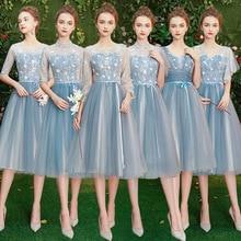 Bridesmaid Dresses Lace Wedding Elegant Blue Long Women Embroidery A-Line O-Neck Full