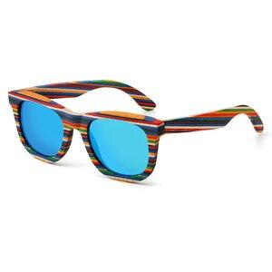 Image 1 - レトロ手作り色木製フレームサングラス偏女性男性多色サングラスビーチ抗uv眼鏡を駆動するための