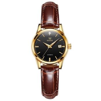OLEVS Automatic Women's Watch Fashion Simple Deep Waterproof Leather Strap Women's Mechanical Watch 1