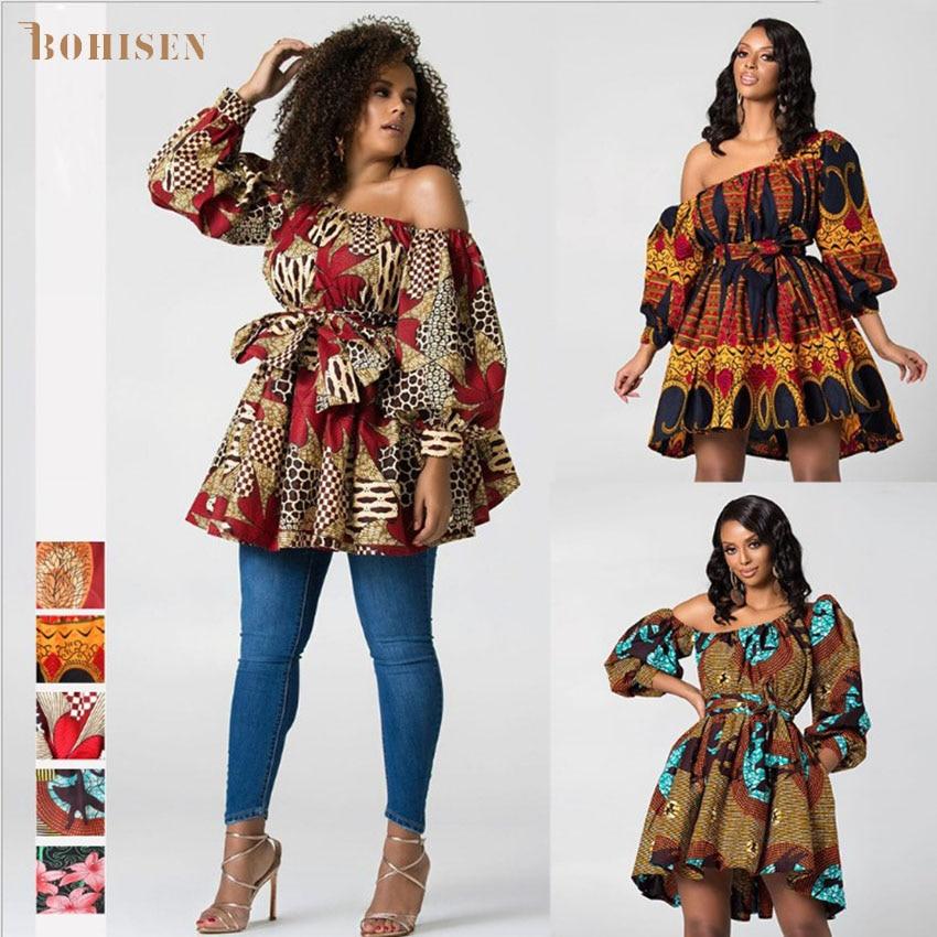BOHISEN Dashiki African Dresses For Women Sleeveless Girls Party Dress Bazin Clothing Ankara Rich Tops Summer African Women