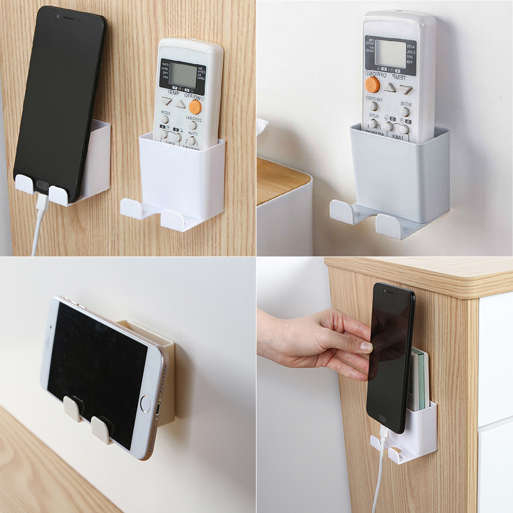 Wall Mounted Mobile Phone Bracket Remote Control Holder No Drilling Phone Charging Support 66*61*61mm Cellphone Holder