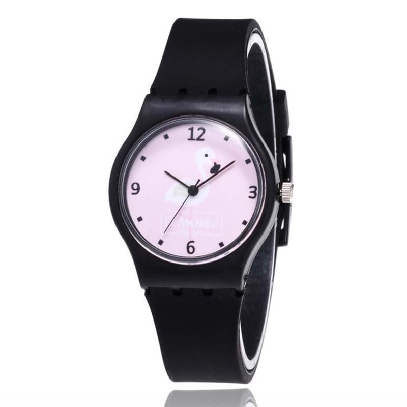 Fashion Cute Flamingo Style Student Watches Leisure Boy Girl Quartz Silicone Strap Child Wrist Watch