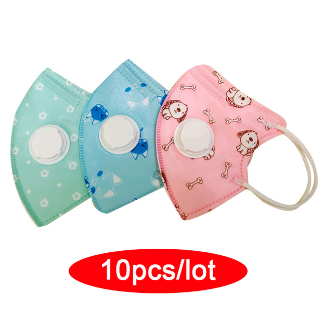 $ US $22.06 10pcs n95 children mask for 4-10 years kids with breathing valve 5 layers protection kid mouth mask Anti Dust in stock