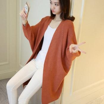 Long Cardigan Women Sweater Autumn Winter Bat Sleeve Knitted Sweater Plus Size Jacket Loose Ladies Sweaters Cardigans 3XL 8
