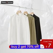 Metersbonwe العلامة التجارية الرجال قمصان جديدة غير رسمية الربيع الخريف الذكور ضئيلة قمصان طويلة الأكمام العادية القطن الذكور المراهقين القمم