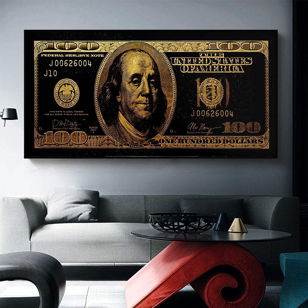 Aahh ouro standar moderno pop cultura dinheiro estilo arte de rua inspirador parede arte da lona imagem para decoração casa