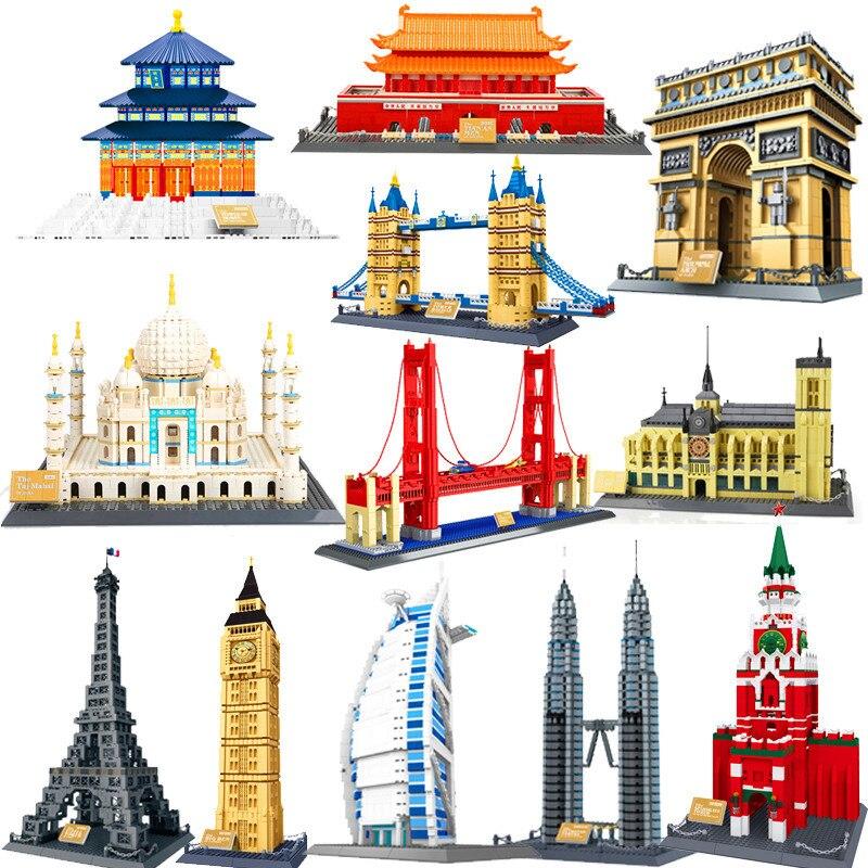 World Famous Architecture Diamond Building Blocks Pyramids Petronas Towers Tian An Men Temple Of Heaven Model  For Bricks Toys