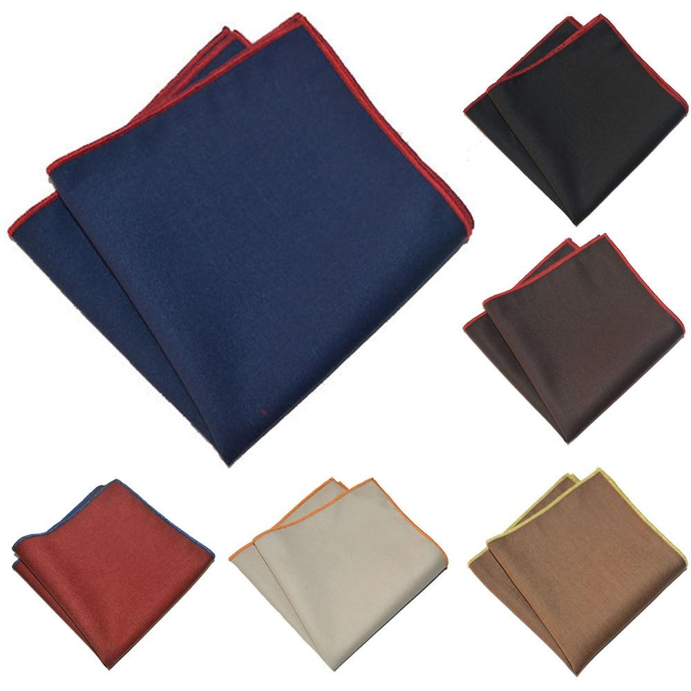 Men Plain Color Handkerchief Colorful Rolled Pocket Square Cotton Hanky BWTYX0327