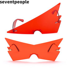 2020 Модные без оправы негабаритные треугольные солнечные очки