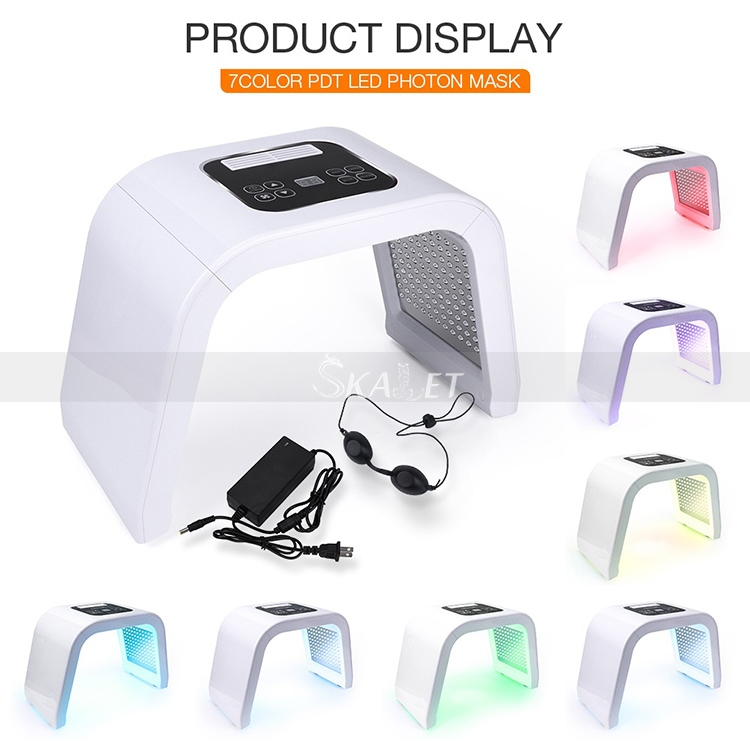 Professional Photon PDT LED Facial 7 Colors Acne Treatment Face Whitening Skin Rejuvenation Light Therapy Mask Machine