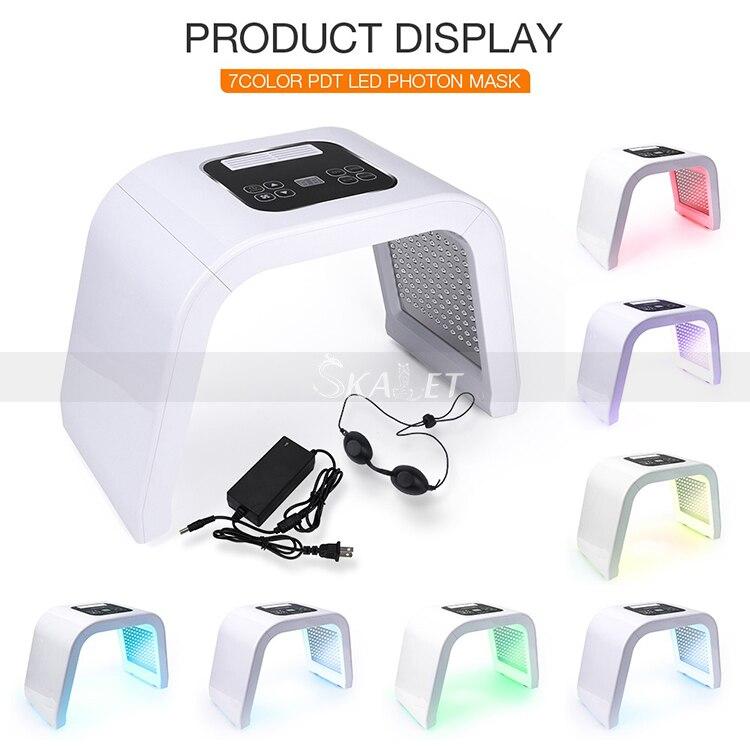 Professional Photon PDT LED Facial 7 Colors Acne Treatment Face Whitening Skin Rejuvenation Light Therapy Mask Machine