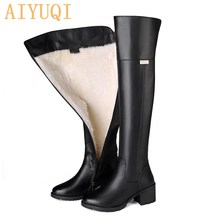 Motorcycle-Boots Boots Women High-Boots Over-The-Knee Genuine-Leather Winter Thick Sole