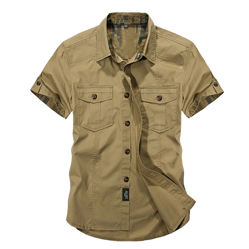 Jeep Solid Color Cotton Mens Shirts Short Sleeve Turn-down Collar Army Green Khaki Men Tops Casual Male Camisas Shirt XXXL 2018