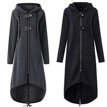 2020 Women Autumn Fashion Coat Long Sleeve Black Hooded Tren