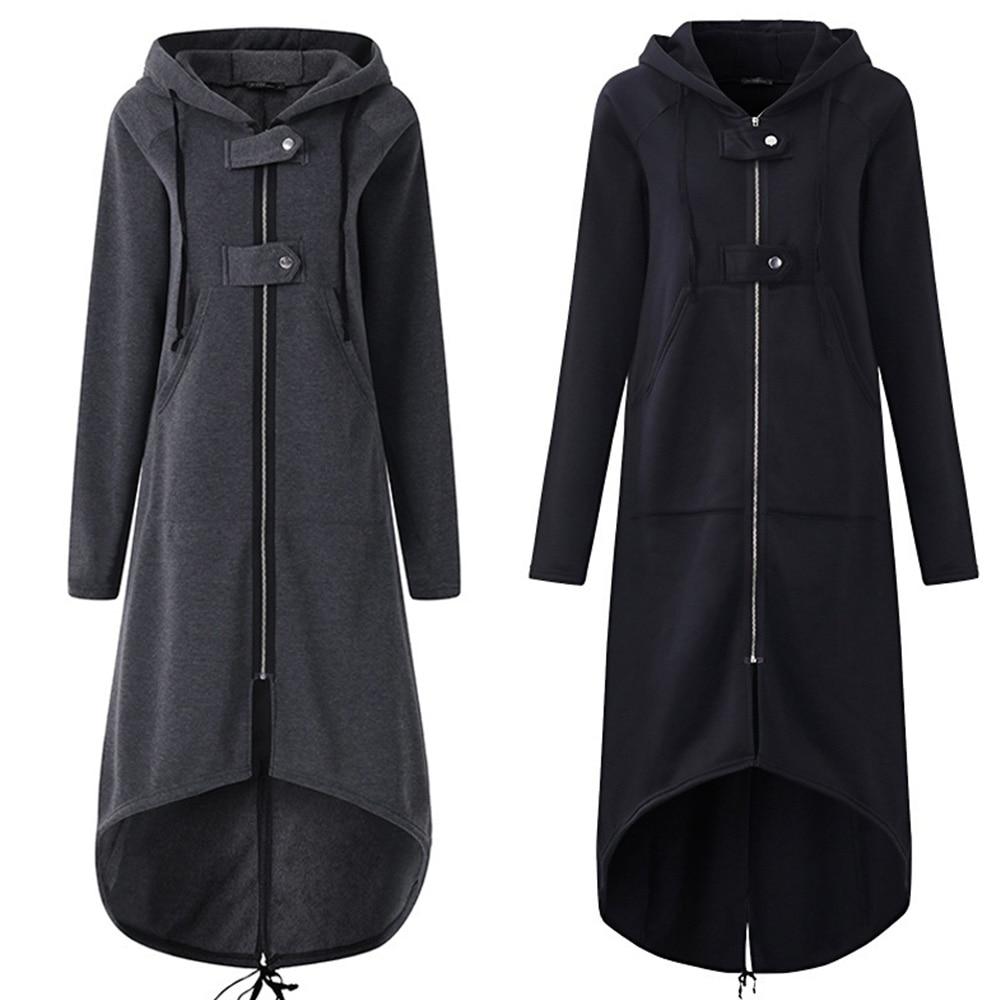 Women Autumn Winter Fashion Coat Long Sleeve Black Hooded   Trench   Coat Female Autumn Hooded Zipper Overcoat Long   Trench   Coat 2019