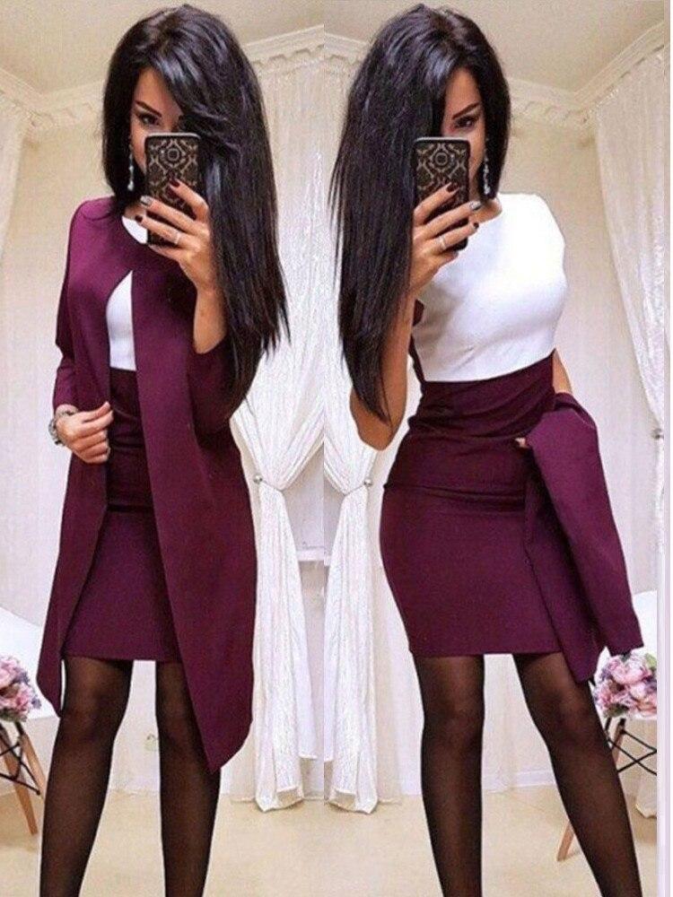 Elegant professional women's skirt suit splicing pure color Slim ladies new long-sleeved women's skirt formal wear business work