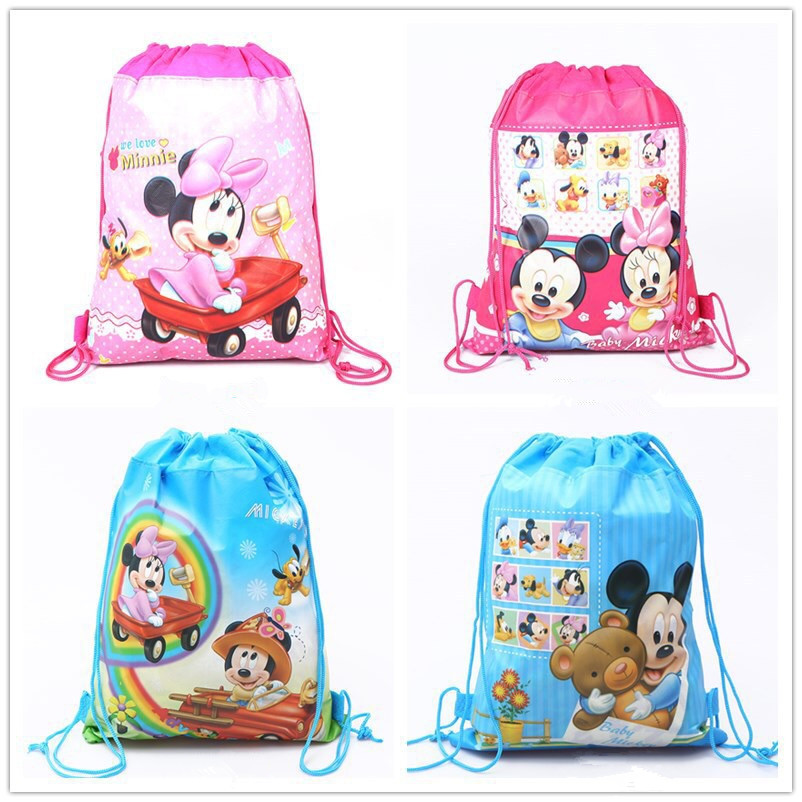 Disney  Mickey Mouse Minnie Mouse Fashion Mommy Bag Shopping Bag Non-woven Drawstring Harness Pocket Mickey Minnie Toys