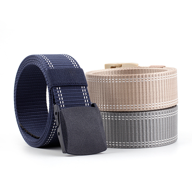 Men's/Women's New Teenage Students Canvas Belt Hypoallergenic Flat Plastic Buckle Waistband  Fashion Casual Jeans Belt P95