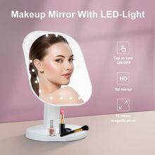 Зеркало для макияжа 10X увеличить сенсорный Управление светодиодный заполняющий светильник красоты зеркало для макияжа 180 Вращение Многофу...