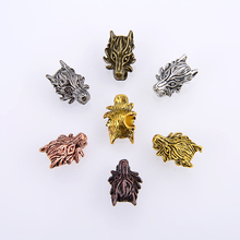 10PCS/ packsge Accessories Yoga Charm Silver Loose Spacer Beads Dragon Head For Jewelry Making DIY Bracelet Neckace Wholesale