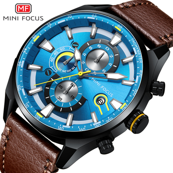 MINI FOCUS Top Brand Sport Watch For Men Luxury Casual Men Watches Fashion Leather Quartz Wrist Watch Men Waterproof Chronograph