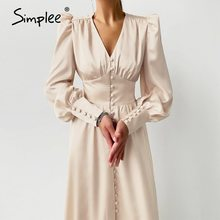 Simplee Elegant spring satin bishop sleeve a-line dress women V-neck high waist button dress solid Vintage long dresses chic