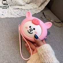 2019 Kawaii Pink Rabbit Pouch Cute Silica Gel Coin Purse Holder Cartoon Animal Zipper Small Wallet Girls Change Bag Earphone Box стоимость