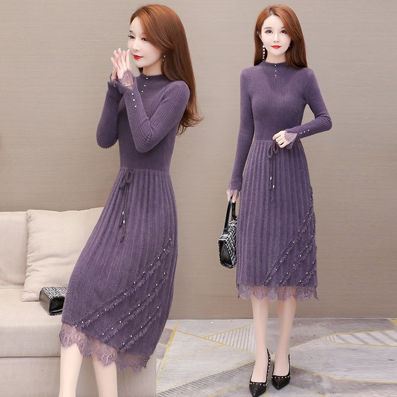 Fashion faux mink beading ruffle dress female 2020 new autumn winter sexy lace patchwork long sleeve dresses elegant party dress 7