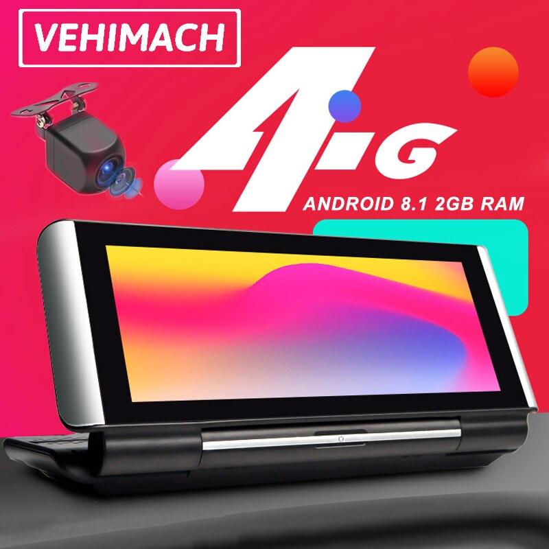 Android 8.1 4g traço cam adas gps wifi carro dvr bluetooth dashboard navegação 1080p toque câmera de lente dupla gravador de vídeo automático