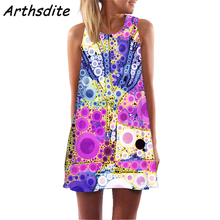 Arthsdite Floral Dress Woman Basic Sleeveless Women Summer Flower Printed Party Casual Mini Vestidos