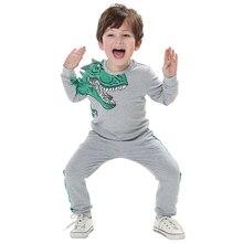 Детский костюм со свитером мягкий спортивный осенний свитер для мальчиков Детский комплект с длинными рукавами и рисунком динозавра, однотонные детские толстовки с героями мультфильмов