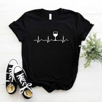 Wine Heartbeat Print T Shirt Women Short Sleeve O Neck Loose Tshirt 2020 Summer Women Tee Shirt Tops Camisetas Mujer Femme Tops 1