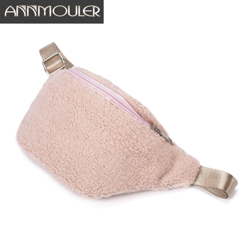 Annmouler Women Waist Bag Fashion Pu Leather Waist Pack Quality Fanny Pack For Girls Pink Chest Bag Cute Phone Pouch Belt Bag